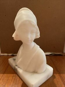 Small Italian Carved Alabaster Bust Young Lady Wearing a Bonnet