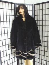SHOWROOM NEW SHEARED BLACK WALLABY KANGAROO & MINK FUR JACKET COAT WOMEN SIZE 8