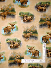 Moose Cow Wildlife Animals Brown Tonal Cotton Fabric QT Waters Edge By the Yard