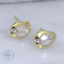 Sterling Silver | DESIGNER Gold Plate Pear-Cut Crystal 1.8g | Stud Earrings