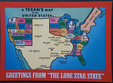 A TEXAN'S MAP of the UNITED STATES  Postcard 5 x 7 Heavy Card Stock Late 90's