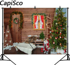 Wooden House Sled Christmas Tree Photography Backgrounds Photographic Backdrops