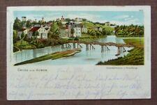 GUBEN Achenbachbrücke / ALTE BRÜCKE / und Neisseberge - LITHOGRAPHIE um 1900