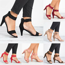 7a29a3e8913d Women Dance Shoe Ankle Strap Flat Casual Sandals Shoes Chunky Low Mid Heel  Dress