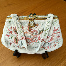 Vtg. Josef Hand Beaded Handbag White Seed beads Crewel work & Cloisonne -FRANCE