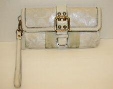 COACH Wristlet Clutch Handbag White Silver Lurex Buckle Authentic