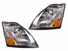 Volvo 04-15 VN VNL Truck Headlight Driver Passenger Pair Chrome w/ LED Light Bar