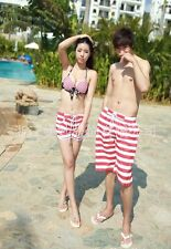 New Couple Lover Mens Womens Beach Surf Board Sexy Striped Shorts Pants STK512
