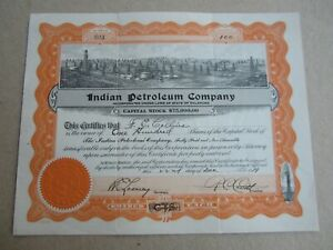 Old Vintage 1919 - INDIAN PETROLEUM Company - Stock Certificate - OKLAHOMA