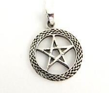 Celtico Ciondolo a forma di Pentagramma nel Cerchio Collana Pesante Argento Sterling .925 PAGANO