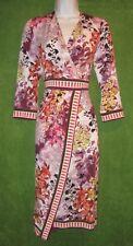 Beige by eci White Purple Floral Border Print Faux Wrap Work Social Dress 10 $98