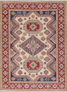Geometric Ivory/ Red Super Kazak Oriental Area Rug Wool Hand-knotted 5x7 Carpet