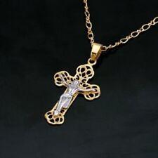 Unique 18k GP latin cross Jesus Christ pendant necklace