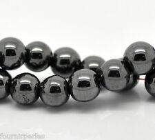 1 Enfilade de Perles Rondes Hématite Noir 8mm Diamètre