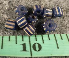 10 Old Huron Indian Cobalt Blue False Chevron Trade Beads Good Patina