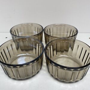"""4x Vintage Small 3.25"""" ARCOPAL France FUME Smoked Glass Fluted Souffle Dishes"""