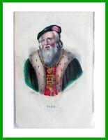 ✅ incisione litografia disegnatore Dolfino acquerello GUSTAVO VASA +descrizione