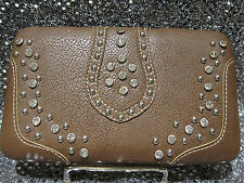 Montana West Brown Flat Wallet w/ Silver Studs Crystal Rhinestones & Checkbook