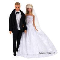 Miunana 2 Abiti: abito nero per bambola KEN + abito da sposa per bambola barbie