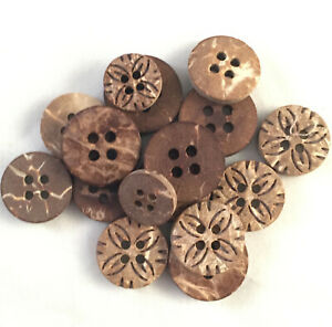5//8 Inch PEPPERLONELY Brand 100PC Brown Coconut Shell Buttons 2 Hole Scrapbooking Sewing Buttons 15mm