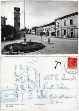 Cartolina di Aviano, chiesa e banca - Pordenone, 1954