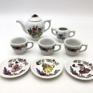 Flower Fairy Friend Tea Set Porcelain Garden Mini Tea Pot Saucer Schylling Glass