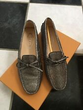 NIB 100% AUTH Tod's Glitter Lace Moccasins Flats Shoes $475