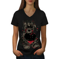 Wellcoda Teddy Bear Love Hurt Womens V-Neck T-shirt, Blood Graphic Design Tee
