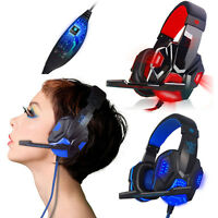 USB 3.5mm LED Surround Stereo Gaming Headset Headband Headphone with Mic for PC