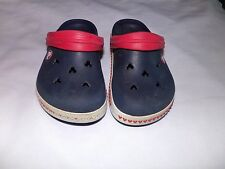 DISNEY Mickey Mouse CROCS  Size J 1 Blue with Red accents