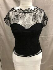 St John knits corset top blouse with lace overlay size 6