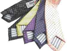 Cravatta bambino elegante motivo a pois punta a spillo blu di seta italy VARIE