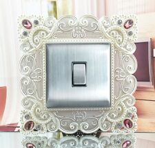 Synthetic Pearl & Pink Crystal Inlay Square Light Switch Surround, Finger Plate
