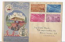 1954 India FDC SC 248-251 Postage Stamp Centenary - to Montreal, Canada