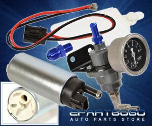 Adjustable 140Psi Fuel Pressure Psi Regulator+Gauge+255 Lph Electronic Pump Silv
