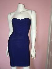 BEBE Strapless Bodycon Blue Bandage Cocktail Party Dress Sz XS Gorgeous!