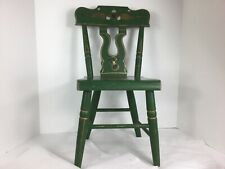 Vintage 1976 Child's Wooden Chair painted Green with gold and black accents