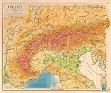The Alps 1930 Original Antique Map Switzerland Italy
