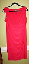 RALPH LAUREN RUCHED DRESS HOT CORAL SIZE 16 NEW WITH TAGS