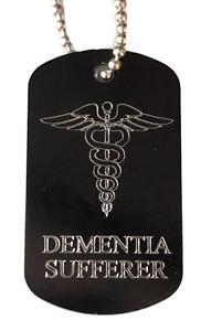 Personalised Dementia Sufferer Medical Alert ID Black SOS Tag ENGRAVED FREE