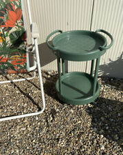 Vintage Retro Green Plastic Drinks Garden Camping Table Trolley Made In  Italy