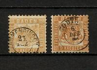 (YYAR 113) Baden 1864 - 1868 Variety USED Mich 20 Scott 23 Germany