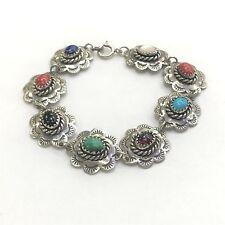 Multi Colored Natural Stone Sterling Silver Bracelet