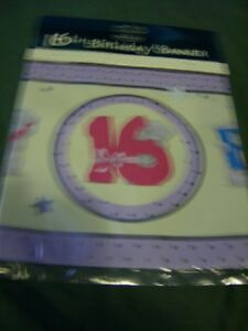 ME TO YOU  Tatty Teddy 16th birthday Banner in lilac and yellow