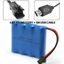 1400mAh AA RC Rechargeable Battery 4.8V Ni-Cd SM 2Pin Plug + USB Charger Cable