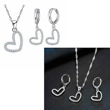 925 Silver Heart Love Rhinestone Necklace And Earring Jewellery Set Gift  UK