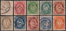 6) - 1877 NORGE - Shady post horn, full set of 10 canceled stamp