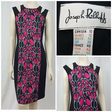Joseph Ribkoff Pink Black Leopard Print Dress Bodycon Figure Hugging Size UK 12