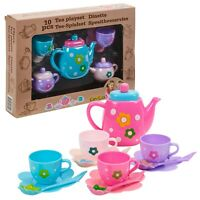 Childrens 10 PCS Tea Set Toy Teapot Cups Saucers Pretend Play Food Fun Kids Gift
