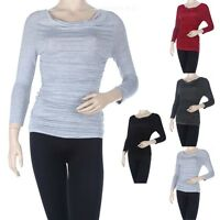 Women's Solid Ruched Side Cowl Neck Top 3/4 Sleeve Maternity Stretchable S M L